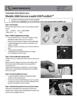 Audit Lock 2.0 Model 3006 Installation Instructions - FRENCH