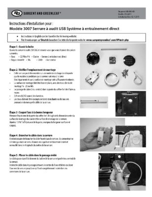 Audit Lock 2.0 Model 3007 Installation Instructions - FRENCH