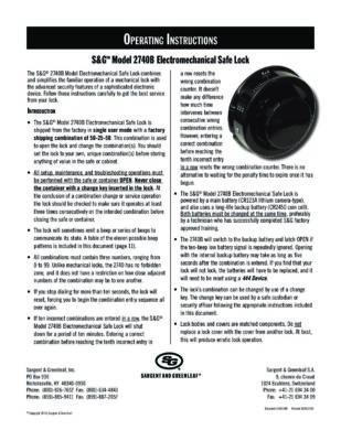 Model 2740B Operating Instructions
