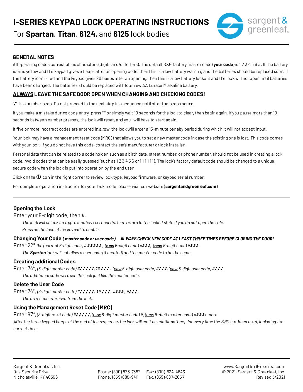 I-Series Keypad Operating Instructions