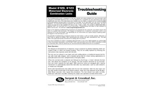 Model 6120-6123 Trouble Shooting Guide