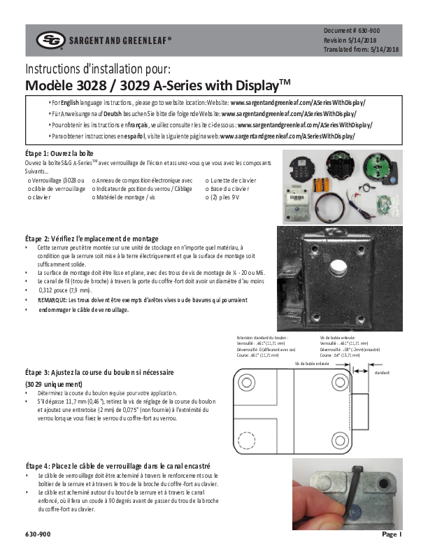 ASWD Model 3028_3029 Installation Instructions - FRENCH