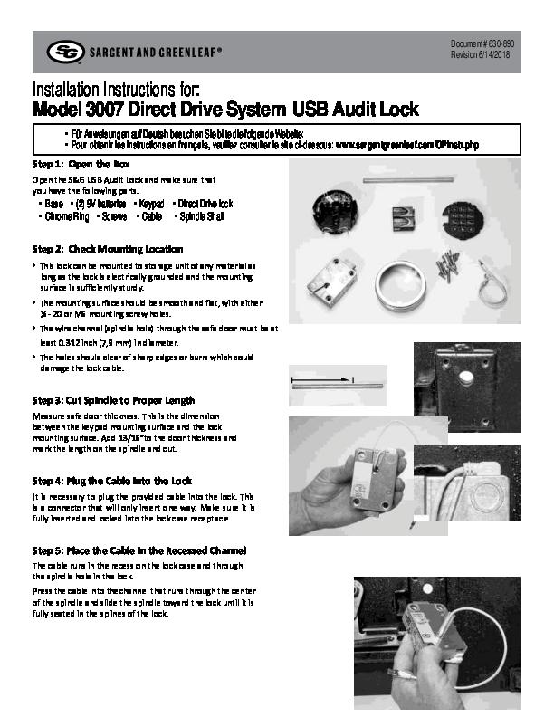 Audit Lock 2.0 Model 3007 Installation Instructions