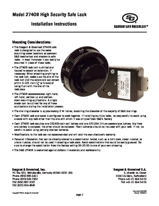 Model 2740B Installation Instructions