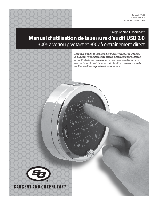 Audit Lock 2.0 Operating Instructions - FRENCH