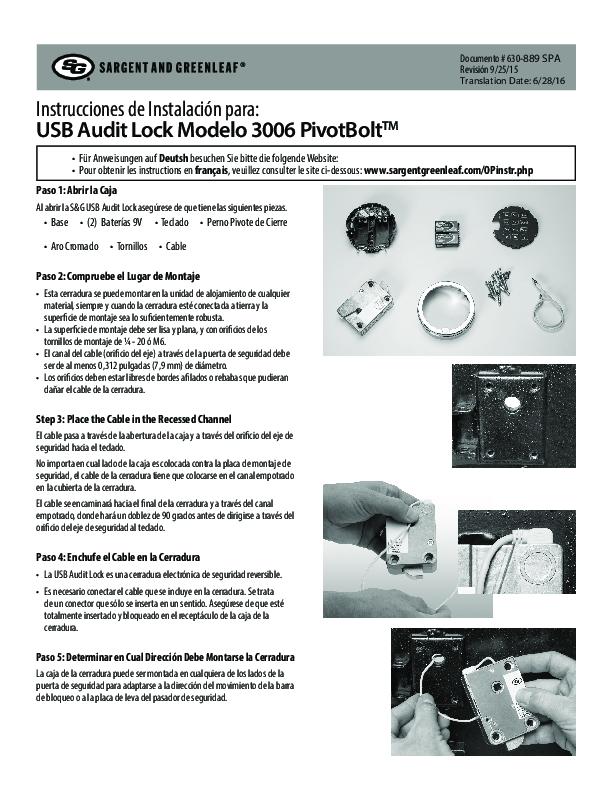 Audit Lock 2.0 Model 3006 Installation Instructions - SPANISH