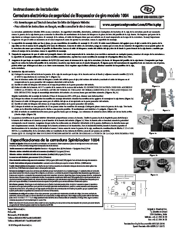 Model 1004 Installation Operating Instructions - SPANISH